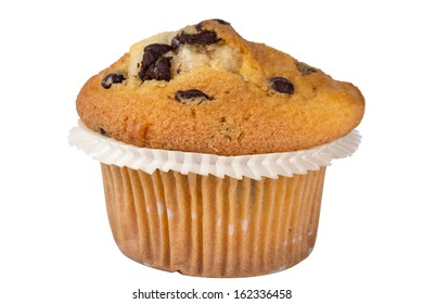 chocolate muffin isolated on a white background