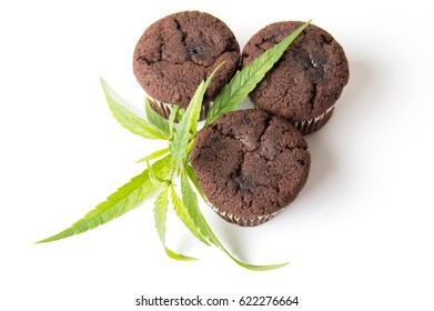 Chocolate muffins with Marijuana leaves on white