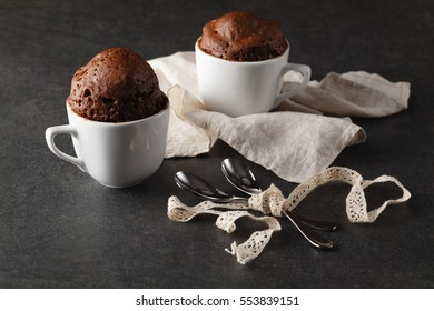 Chocolate muffins  on Table Background, Rustic Still Life Style