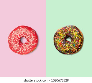 Chocolate in multi-colored donuts