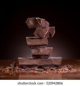Chocolate on a dark marble background