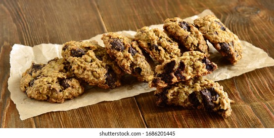 Chocolate сhip оatmeal сookies on wooden background