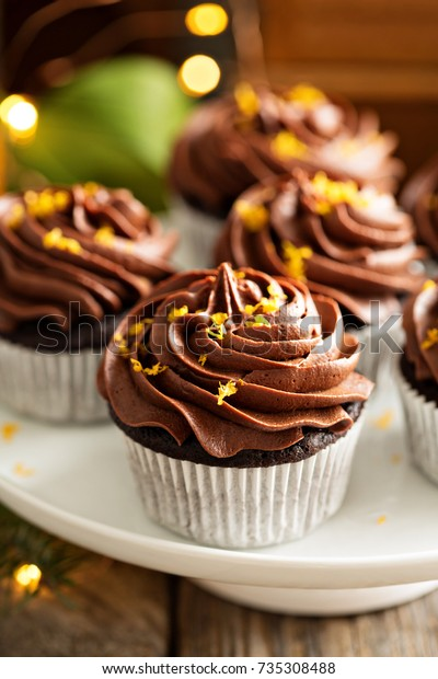 Chocolate Orange Cupcakes Christmas Ganache Frosting Food