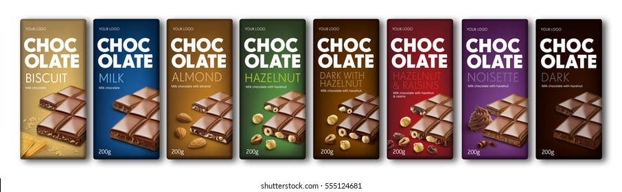 Chocolate. Package. Full range chocolate line. Design concept. Blocks of chocolate on background. Color code. Hazelnut, almond, biscuit, milk, raisins taste. Tasty