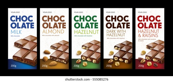 Chocolate. Package. Chocolate package line, different flavor, exclusive, color code.White background.Ready for package design. Glossy.Hazelnut, almond,raisins, milk taste. Tasty