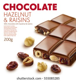 Chocolate package line, different flavor, exclusive, color code.White background.Ready for package design. Glossy.Hazelnut, raisins taste.