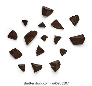Chocolate parts from top view isolated on white background isolated on white background