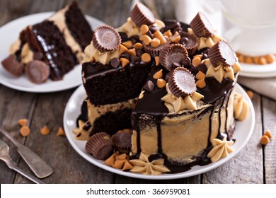 Chocolate peanut butter cake with frosting and chocolate glaze