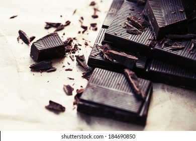 Chocolate pieces. Chopped dark chocolate closeup