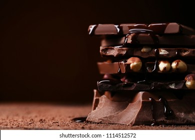 Chocolate pieces with hazelnut and syrup
