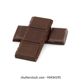 chocolate pieces islated on a white background