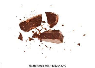 Chocolate pieces isolated on white background. Top view.