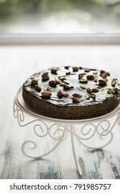 Chocolate and pistachio vegan cake