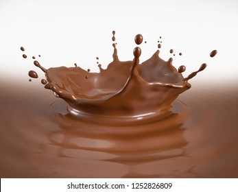 Chocolate pool with crown splash and ripples. With white background.