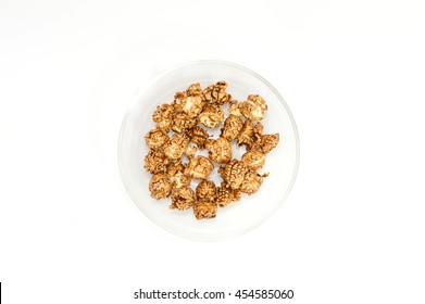 Chocolate Popcorn in a glass Bowl.