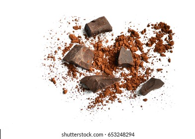 Chocolate and chocolate powder , cocoa powder isolate on white background, space for text
