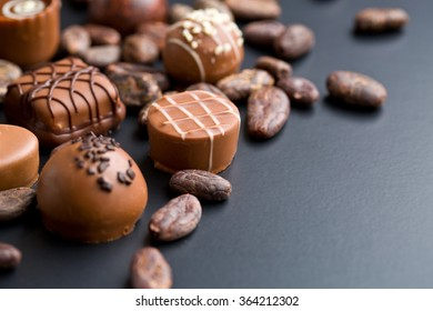 the chocolate pralines and cocoa beans