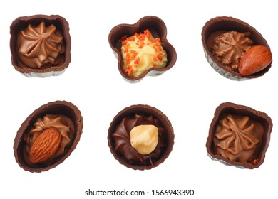 Chocolate pralines isolated on a white background. top view