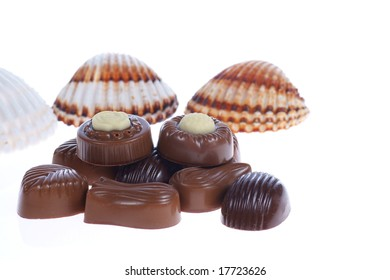 chocolate pralines and shells on white background. Delicious dark and milk chocolate pralines.
