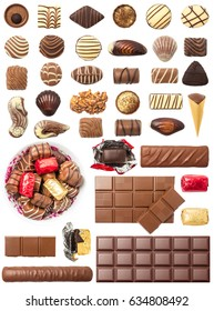 Chocolate Pralines and Tablets Isolated on White Background. Contain a set of pralines, chocolate bar and tablet.
