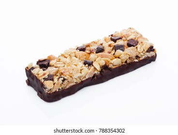 Chocolate protein cereal energy bar on white background