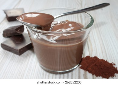 chocolate pudding in a glass bowl