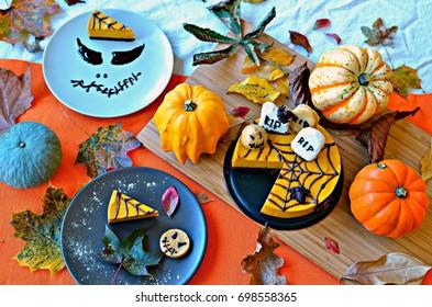 Chocolate and pumpkin Halloween cake, gluten free and vegan