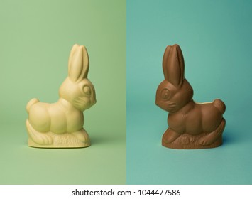 chocolate rabbit isolated on colored background