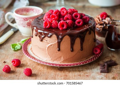 Chocolate raspberry cake with whipped cream filling
