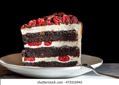 Chocolate raspberry layer cake slice on a plate. Side view. Close up with black background. Copy space