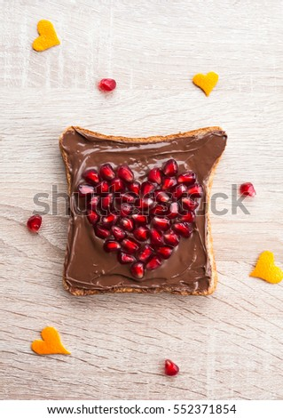 Chocolate Sandwich Pomegranate Heart Fun Food Stock Photo Edit Now