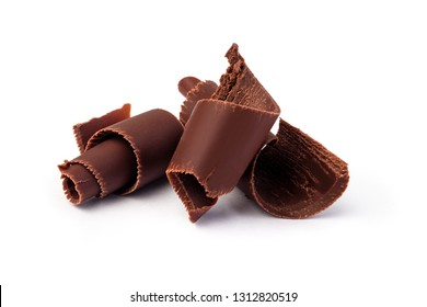 Chocolate shavings on white background