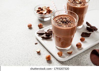 Chocolate smoothie with banana and nuts.