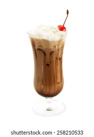 Chocolate smoothie isolated on white background