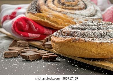 Chocolate snail pastries