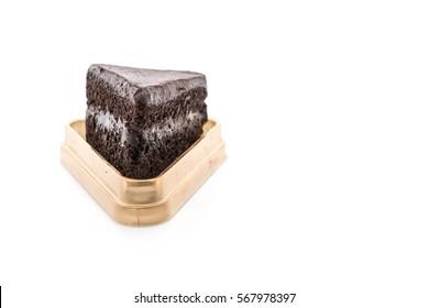 chocolate soft cake on white background