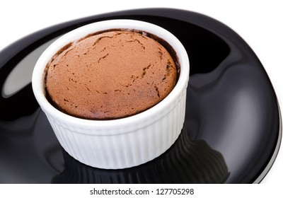 Chocolate souffle with white background