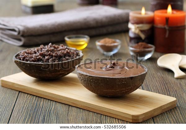 spa au chocolat - et aromathérapie sur fond bois