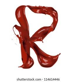 "Chocolate splash letter ""R"" isolated on white background"