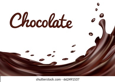 Chocolate splashes background. Brown hot coffee or chocolate with drops and bolts isolated on white background,  3d illustration