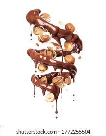 Chocolate splashes in spiral shape with crushed hazelnuts on a white background