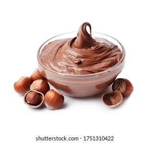 Chocolate spread with hazelnuts  isolated on white backgrounds. Nutella.