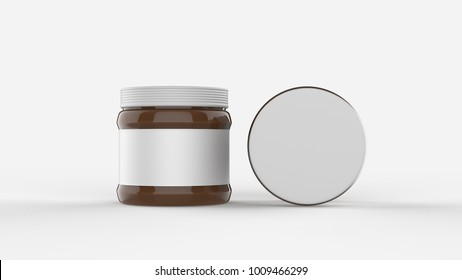 Chocolate spread in jar mock up isolated on soft gray background with white label. Small size. 3D illustrating