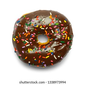 Chocolate Sprinkle Donut Isolated on White Background.