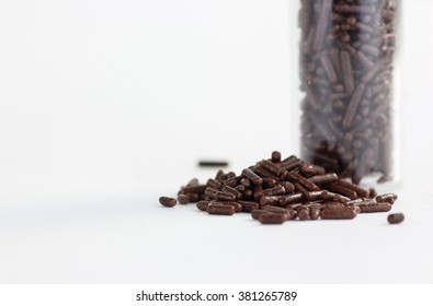 chocolate sprinkles on a white background