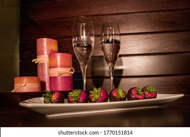 Chocolate Strawberries and candles in a spa