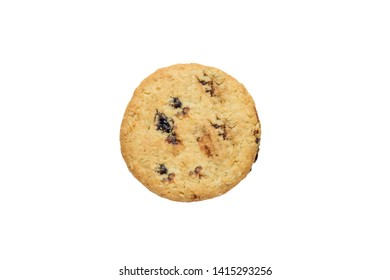 Chocolate strawberry and blackcurrant cookie isolated on a white background.