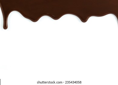 Chocolate streams on white background