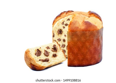 chocolate stuffed panettone, typical Brazilian sweet bread served as a dessert for Christmas and New Year celebrations. Known as chocotone. Christmas food isolated on white background.
