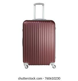 Chocolate suitcase isolated on white background. Polycarbonate suitcase isolated on white. Chocolate suitcase.